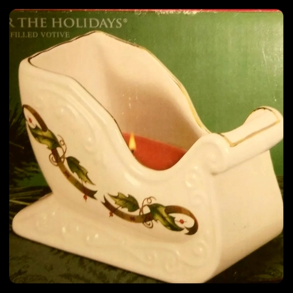Christmas Votive Candle Sleigh Holly Holiday Patte